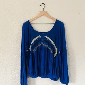 Free People Cobalt Blue Ruched Long Sleeve Top